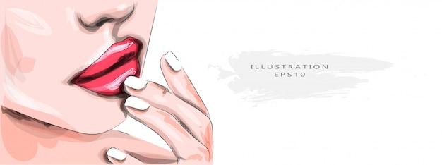 Ilustração vetorial jovem mulher com lábios sensuais