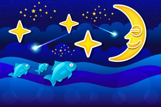Ilustração vetorial linda lua pendurada no céu noturno