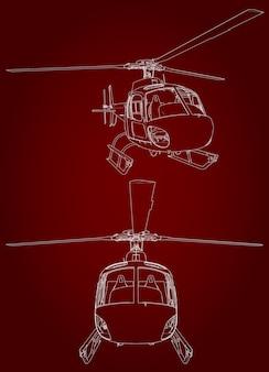 Ilustração vetorial linear de helicóptero
