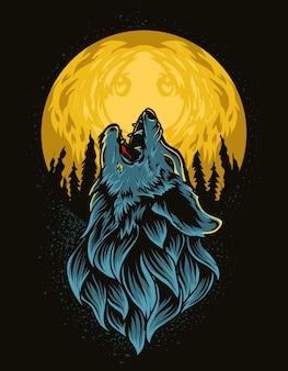 Ilustração vetorial lobo rugindo na lua