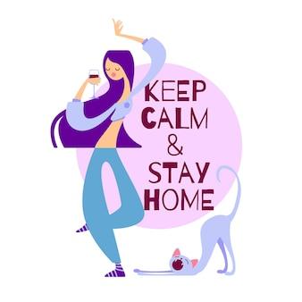 Ilustração vetorial mantenha a calma e fique em casa. garota dançando