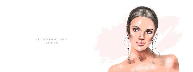 Ilustração vetorial menina bonita com uma maquiagem linda,
