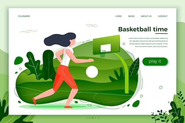 Ilustração vetorial - menina desportiva jogando basquete. tribunal, parque, árvores e colinas sobre fundo verde. banner, site, modelo de cartaz com lugar para o seu texto.