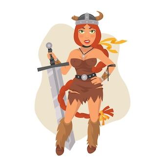 Ilustração vetorial, menina viking segurando espada, formato eps 10