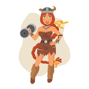 Ilustração vetorial, menina viking segurando halteres, formato eps 10