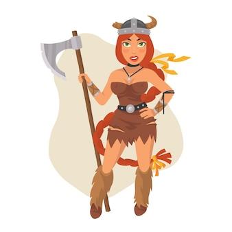 Ilustração vetorial, menina viking segurando machado, formato eps 10