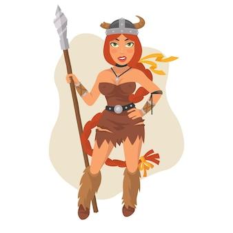 Ilustração vetorial, menina viking segurando uma lança, formato eps 10