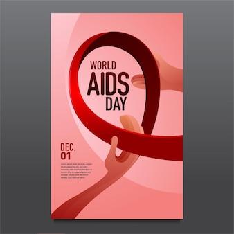 Ilustração vetorial modelo de design de pôster para o dia mundial da aids