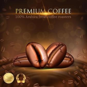 Ilustração vetorial modelo de menu de banner de cafeteria grãos de café