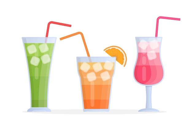 Ilustração vetorial moderna com copos de coquetéis de frutas