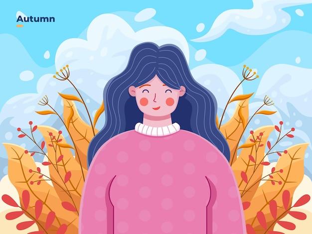 Ilustração vetorial mulher feliz e aproveitando as temporadas de outono com um bonito desenho de personagem de desenho animado