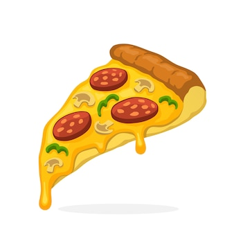 Ilustração vetorial no estilo cartoon fatia de pizza com calabresa de queijo derretido e cogumelos