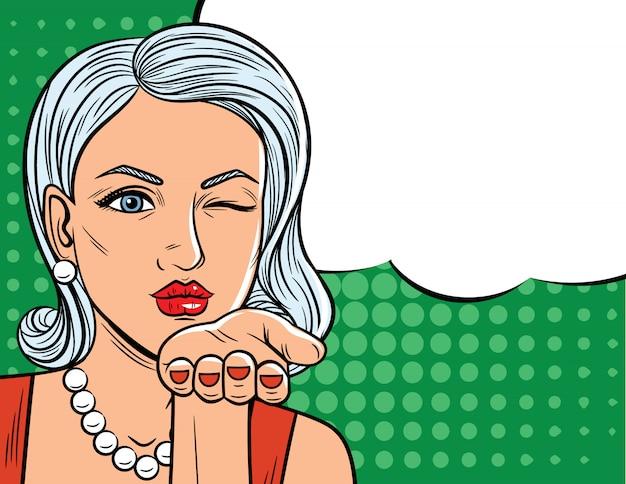 Ilustração vetorial no estilo de arte em quadrinhos de uma linda mulher com olhos piscando. senhora de glamour com cabelos loiros, mandando um beijo voador