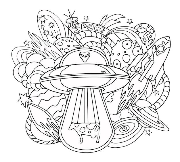 Ilustração vetorial no estilo doodle com a imagem dos elementos do espaço livro de colorir