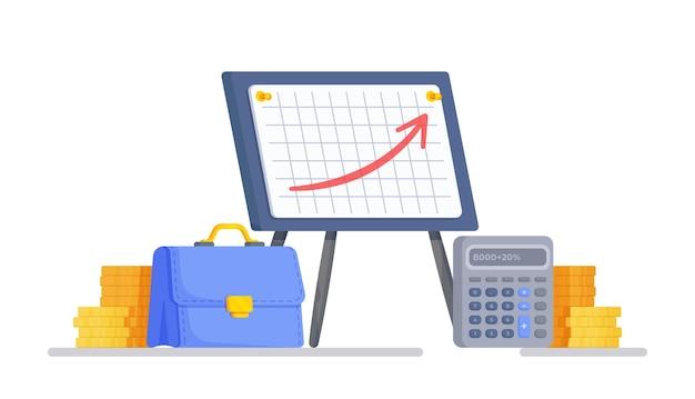 Ilustração vetorial no fundo branco financiamento para projetos criativos gráfico de crescimento de lucro