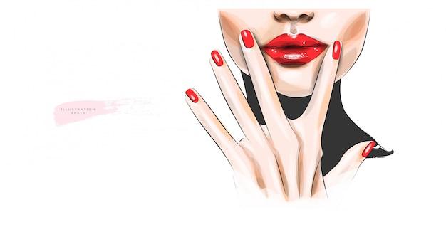 Ilustração vetorial o rosto de mulher com lábios vermelhos brilhantes.