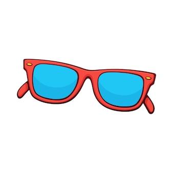 Ilustração vetorial óculos de sol com aro de plástico vermelho e lentes azuis