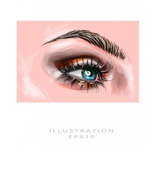 Ilustração vetorial olhos de close-up de uma mulher azul com marrom bonito com tons de vermelhos e laranja, maquiagem dos olhos esfumaçados. maquiagem moda moderna.