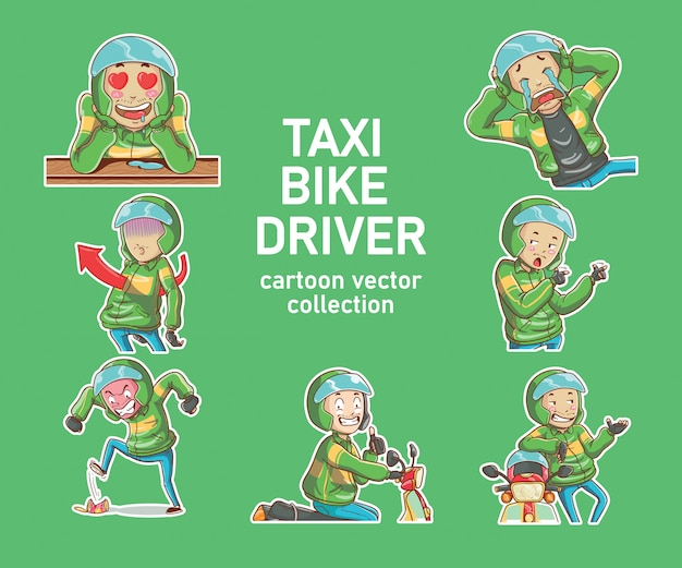 Ilustração vetorial online taxi bike driver motorcycle drive ojek hand drawn cartoon coloring style
