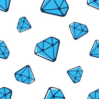 Ilustração vetorial padrão sem emenda com diamantes azuis grandes e pequenos caindo