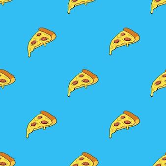 Ilustração vetorial padrão sem emenda com fatia de pizza no estilo pop art em fundo azul