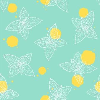 Ilustração vetorial. padrão sem emenda com folhas de hortelã. fundo verde com manchas amarelas. mão-extraídas planta de linha branca.