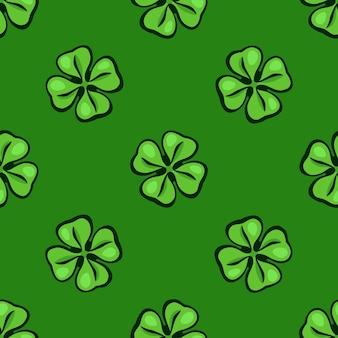 Ilustração vetorial padrão sem emenda folhas de trevo verde boa sorte e símbolo do dia de são patrício