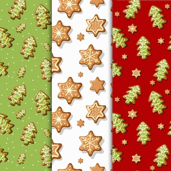 Ilustração vetorial padrão sem emenda ornamento de inverno biscoitos de gengibre