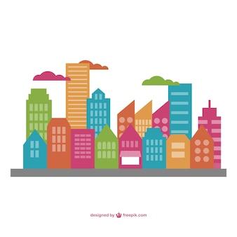 Ilustração vetorial paisagem urbana plana