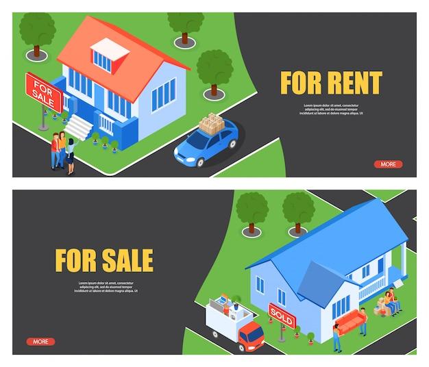 Ilustração vetorial para alugar e para venda plana.