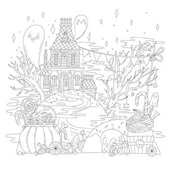 Ilustração vetorial para colorir com paisagem de halloween, casa velha, fantasmas, esqueletos, abóboras e doces