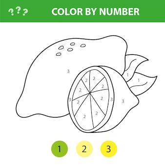 Ilustração vetorial para colorir por números, jogo educativo com desenho de limão para crianças