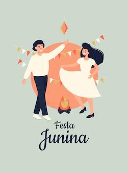 Ilustração vetorial para festa junina com dansing feliz mulher e homem.