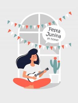 Ilustração vetorial para festa junina com uma mulher tocando violão em casa.