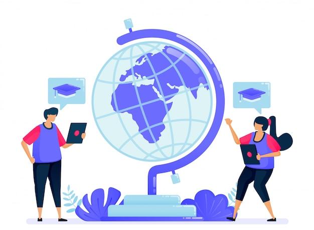 Ilustração vetorial para globo da educação, aprendizagem e transferência de conhecimento.