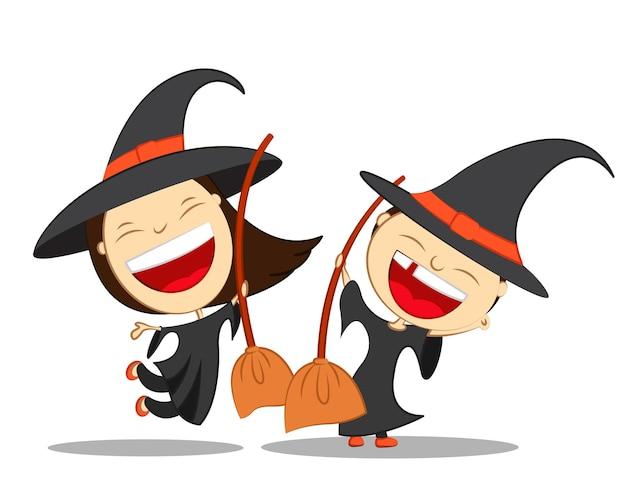 Ilustração vetorial para personagens de desenhos animados do feliz dia das bruxas