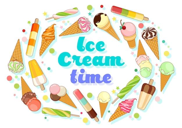 Ilustração vetorial para pôster colorido com picolés de cones de waffle de sorvete