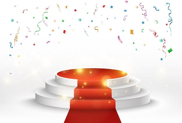 Ilustração vetorial para vencedores de prêmios. pedestal ou plataforma para homenagear os vencedores dos prêmios.