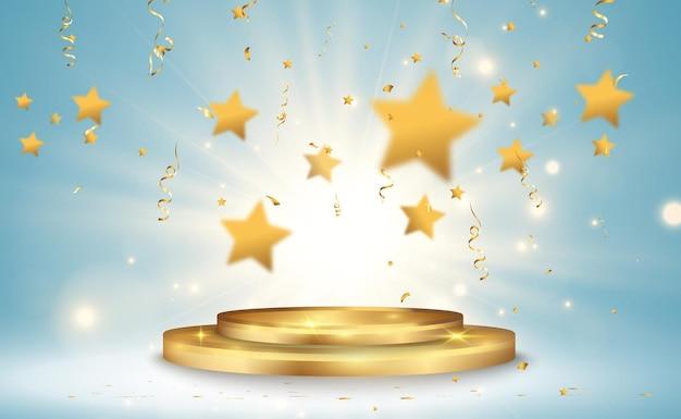 Ilustração vetorial para vencedores de prêmios pedestal ou plataforma para homenagear vencedores de prêmios