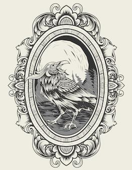Ilustração vetorial pássaro corvo com ornamento de gravura vintage