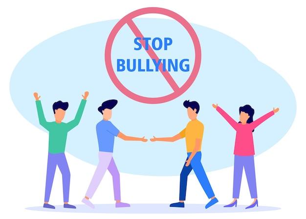 Ilustração vetorial personagem de desenho animado de bullying
