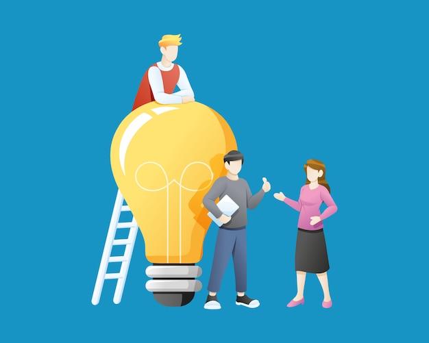 Ilustração vetorial pessoas com grande idéia de lâmpada