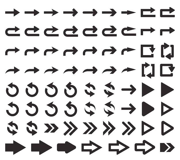 Ilustração vetorial pixel perfeito grande conjunto de ícones de seta a seta de direção