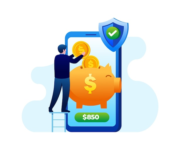 Ilustração vetorial plana de banco online para banner