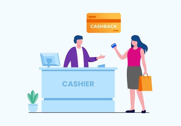 Ilustração vetorial plana de compras de pagamento com cartão de crédito