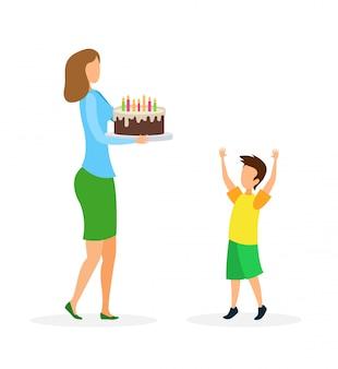 Ilustração vetorial plana de parabéns de aniversário