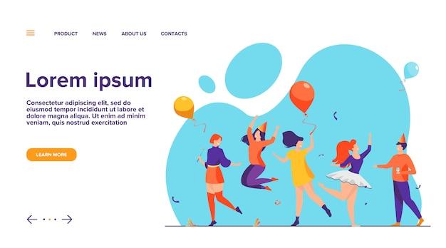 Ilustração vetorial plana de pessoas felizes dançando na festa