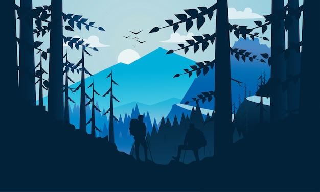 Ilustração vetorial: plano paisagem montanha caminhadas fundo
