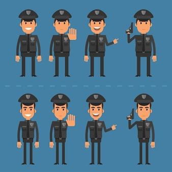 Ilustração vetorial, policial em várias poses, formato eps 10.