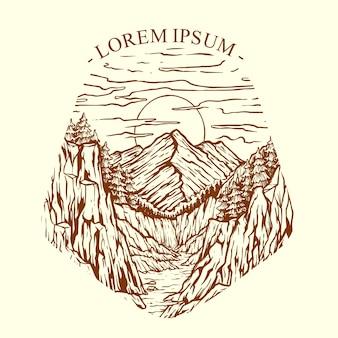 Ilustração vetorial pôr do sol nas falésias da montanha